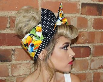 Tropical Festival Birds Rockabilly Pin up wide wired Headband