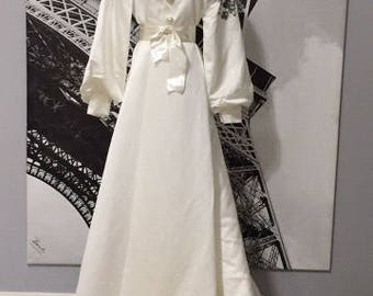 Mulberry Silk Dressing Robe with Silver Appliques, Embroidery , and Crystal