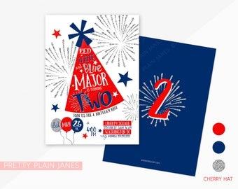 Red, White & TWO Birthday Invitation | Patriotic Digital Birthday Invite | Memorial Day Birthday | 4th of July BBQ Birthday - 5X7