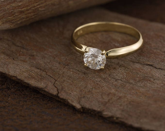 ON SALE!! 1 carat Solitaire ring -Diamond Engagement Ring-Diamond Solitaire Ring-Gold Ring-Women Jewelry-Promise ring-Art deco ring-For her