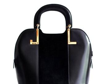Vintage Lanvin black leather handbag