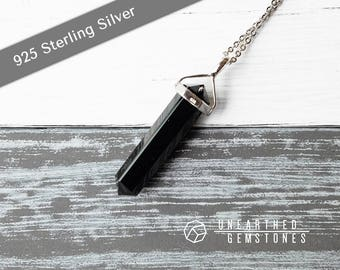 Black Obsidian Necklace - Mens Black Necklace, Obsidian Pendant Necklace, Onyx Necklace, Sterling Silver Men Necklace