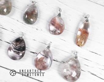 SALE Genuine Lodolite Necklace - Simple Gemstone Necklace, Natural Crystal Pendant Necklace, Simple Gift Idea, Quartz Jewelry