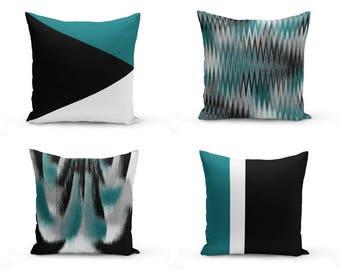Teal black Pillow Covers, Decorative Pillow Covers, Home Decor, Throw Pillow Cover, Teal Black White Grey