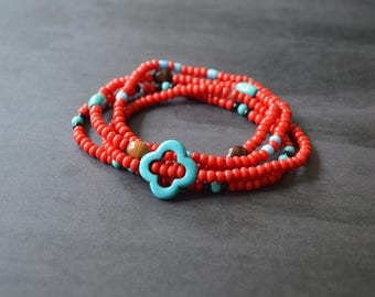 Beaded Red Friendship Bracelets. Red And Turquoise Bracelets. Gift For Her. Christmas Gift Idea. Bohemian Bracelets. Boho Bracelets. Stretch