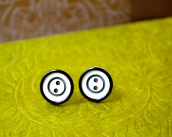 Stud Earrings, Vintage Black And White Button Stud Earrings, Minimalist Earrings, Boho Chic Stud Earrings, Jewelry, Earrings Under 10 Dollar