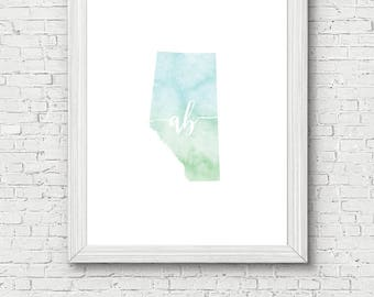Alberta Province Printable - digital download, dorm decor, clean and simple, watercolor, minimalist art, canada province outline