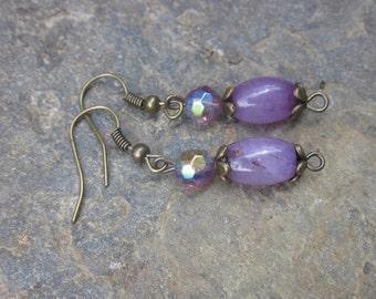 Amethyst Bridesmaid earrings antiqued gold earrings bohemian earrings boho jewelry set of 4  5  6  7  8 bridesmaid earrings victorian purple
