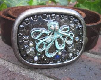 Octopus belt buckle mens belt buckle women's belt buckle steam punk patina octopus freshwater & glass pearls fools gold hematite embellished