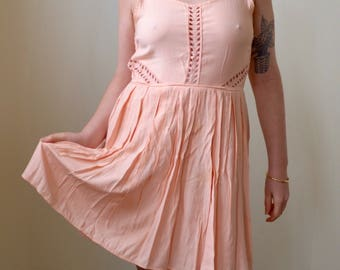 Pastel pink sun dress with open back and macrame details- S/M