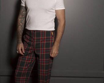 Pantalon homme pantalon à pont pantalon tissu tartan pantalon tissu écossais pantalon marin vêtement fait main vêtement unique original