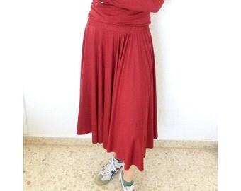 Red Elastic Cotton Floaty Long Skirt