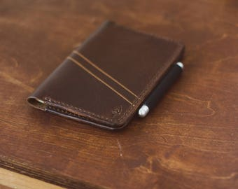 Small Leather Moleskine Cover - Horween Dark Coffee Dublin - Legacy Brand Leather Hand Stitched