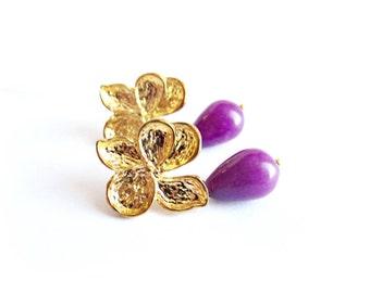 Jade dangle earrings purple stone drop earrings gold orchid gemstone bead earrings italian jewelry floral stud earrings