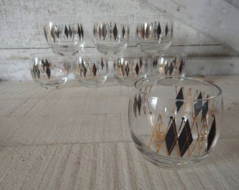 Mid Century Modern Harlequin Black and Gold Roly Poly Vintage Barware - 1960s Harlequin Roly Poly Glassware - Set of Six Roly Poly Glasses