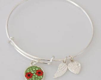 AA1053B  Green and Red Floral Pave Crystal Adjustable Flower Wire Bracelet w Angel Wing & Heart Metal Charms ~ Silver Plated