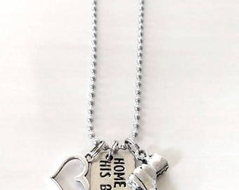 Home is Where His Boots Are US Military Combat Boot Love Heart Necklace You Select Your Chain Length