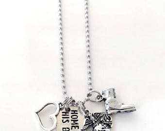 Home is Where His Boots Are US Marines Corps Military Combat Boot Love Heart Necklace You Select Your Chain Length