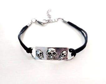 Halloween Day of the Dead Spooky Skull Bracelet YOU choose Cord Color(s)