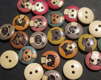 WOODEN CAT FACE Buttons,Novelty Buttons,Sewing Notion,Sewing Supply,Scrapbook Supply,Craft Supply,Cats,Kitty Cats,Felines,Pussy Cats