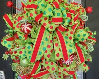 Christmas Wreath, Holiday Wreath, Christmas Door hanger, Front door wreath, Whimsical Wreath, Red and Green Wreath, Outdoor wreath