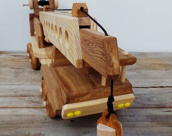 Handmade Wood Toy Construction Crane-Push Pull Toy-All Natural-Eco Friendly-Heirloom Toy