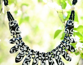 Intricate Black and White Statement Necklace from Africa