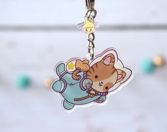 "Galactic Kitty 2"" Acrylic Charm Keychain ( Kawaii space cat astronaut )"
