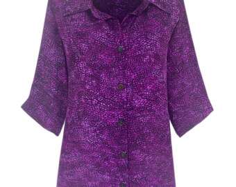Plus Size Purple Tops, Women Classic Shirt Tunic, Plus Size Clothes XL 1X 2X 3X Long Sleeve Button Front Top, Plus Size Top Made to Order