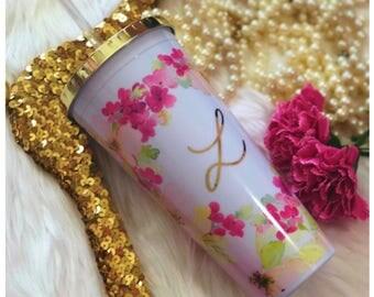 Bridesmaid Gift, Personalized Bridesmaid Tumbler, Personalized Tumbler, Monogram Floral Tumbler, Gold Tumbler, Bridal Party Gift