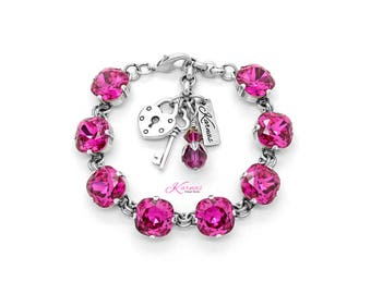 DISCONTINUED FUCHSIA 12mm Cushion Cut Pendant Bracelet Made With Swarovski Crystal *Pick Your Finish *Karnas Design Studio *Free Shipping*