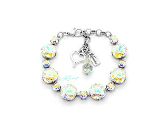 FOLLOW YOUR RAINBOW 6mm/12mm Cushion Cut Bracelet Made With Swarovski Crystal *Pick Your Finish *Karnas Design Studio *Free Shipping
