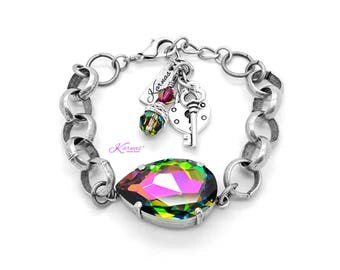 COLOR MY WORLD 2 in 1 Convertible 30x20mm Pear Chain Bracelet Swarovski Crystal *Antique Silver *Karnas Design Studio™ *Free Shipping*