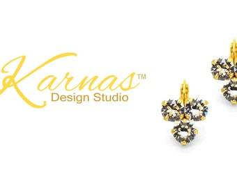 GOLDEN DIVA 8mm Triple Crystal Clear Earrings Made With Swarovski Crystal *Choose Your Finish *Karnas Design Studio™ *Free Shipping*