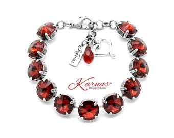 SCARLET RED 12mm Charm Bracelet Made With Swarovski Crystal *Choose Finish & Size *Karnas Design Studio™ *Free Shipping*