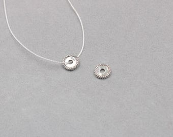 2Pcs 8mm Sterling Silver Coin Beads -- 925 Silver Antique Tibetan Style Charms Wholesale For Bridesmaid Gift Party YX-Y184