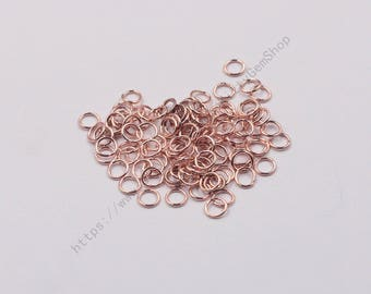 20Pcs, 5mm Sterling Silver Closed Jump Rings With Rose Gold Plated -- 925 Silver Charms Wholesale For Leather Cord JD-004,YHA