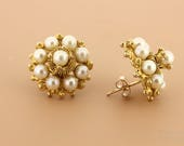 18K Yellow Pearl Stud Earrings