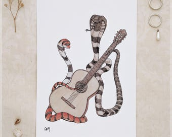 The Cobras & Their Classical Guitar ~ A5 Art Print from Original Ink and Watercolour Painting