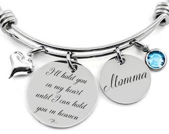 Personalized Bracelet - I'll hold you in my heart until I can hold you in heaven - Memorial Loss Jewelry - Loss Loved One - Heart Charm