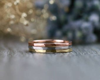 1.4MM Hammered Band Set | Stackable Rings | Thin Rings | Solid 14K Gold | Fine Jewelry | Free Shipping