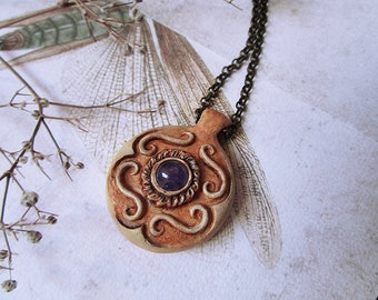 Amethyst Flower Necklace, Polymer Clay Necklace, Carved Pendant, Simple Pendant, Pastel Necklace, Unique Necklace