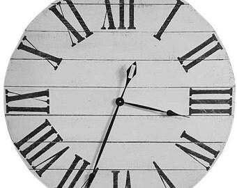antique white pallet clock large roman numeral clock farmhouse clock reclaimed wood clock