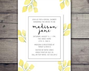Yellow floral watercolor wedding invitation, yellow flowers invite, yellow bridal shower invitation, yellow watercolor bridal shower invite