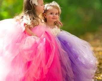 Lavender Flower Girl Dress, Purple Flower Girl Dress, Lavender Tutu Dress, Purple Tutu Dress, Lavender Tulle Dress, Purple Tulle Dress