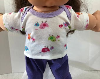 "Cabbage Patch Doll 16 inch Doll Clothes, Adorable & Colorful ""Mommy and Baby BIRDS"" Top, Purple Pants, 16 inch Cabbage Patch Clothes"
