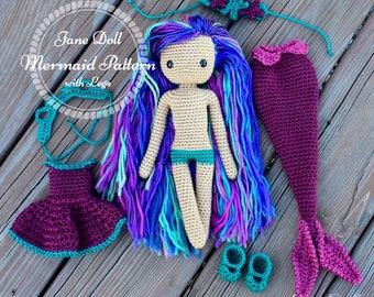 Crochet Mermaid Doll Pattern ~ Jane Doll Mermaid with Legs ~ Doll AND Clothing Pattern