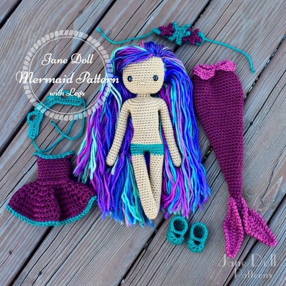 Crochet Mermaid Doll Pattern Jane Doll Mermaid With Legs