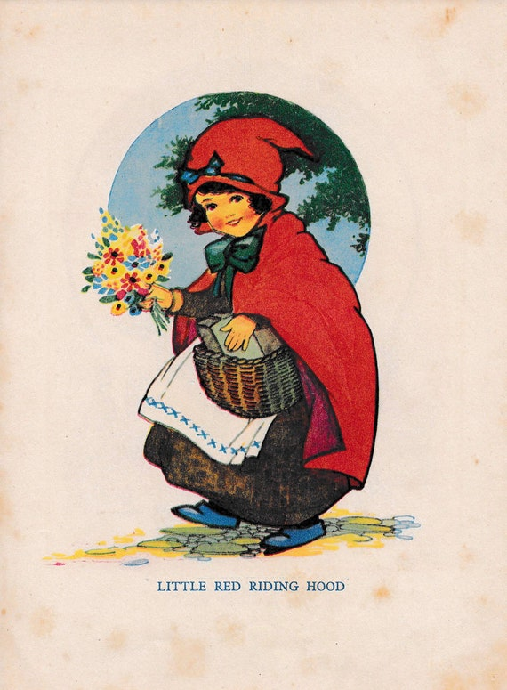 """Children's book illustration by H.G.C. Marsh Lambert, """"Little Red Riding Hood"""", published 1950s, book print"""