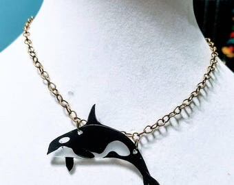 Orca necklace. Whimsical statement necklace.